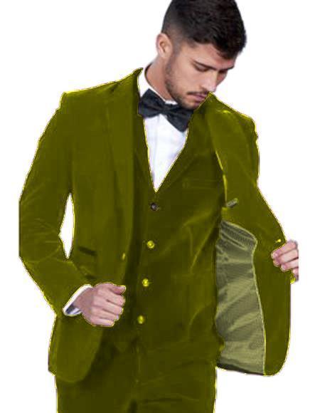 Velour Blazer Jacket Mens Olive Green Color Single Breasted Peak Lapel Velvet Vested Suit Pre Order To Ship Jan/15/2020