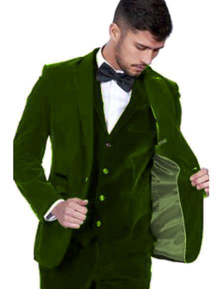 Velour Blazer Jacket Mens Dark Green Color Single Breasted Peak Lapel Velvet Vested Suit Pre Order To Ship Jan/15/2020