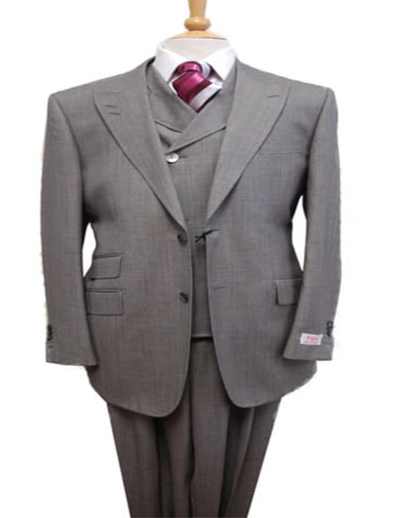 Gray Peak Lapel Two Flap Front Pockets Suit for Men