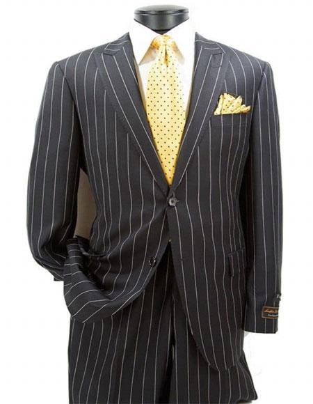 Mens Black Peak Lapel Pinstrip Pattern Suit