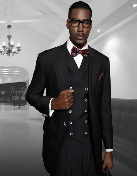 Black One Button One Chest Pocket Suit for Men