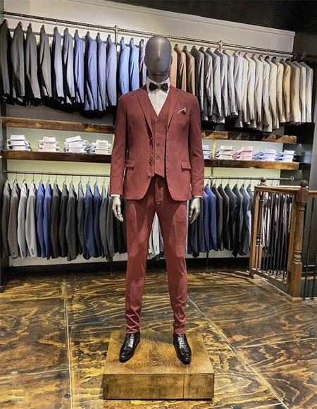 Velvet Suit / Tuxedo Jacket and No Pleated Pants + Burgundy Perfect for Prom ~ Wedding ~ Homecomming