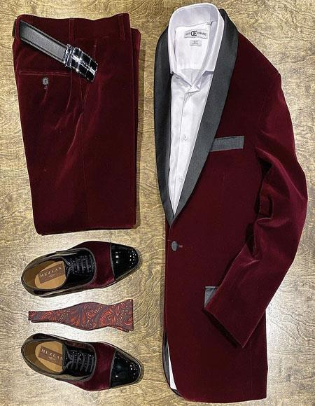 Burgundy Shawl Lapel One Chest Pocket Velvet Suit for Men