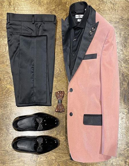 Velvet Suit / Tuxedo Jacket and No Pleated Pants + Pink Tuxedo Perfect for Prom ~ Wedding ~ Homecomming