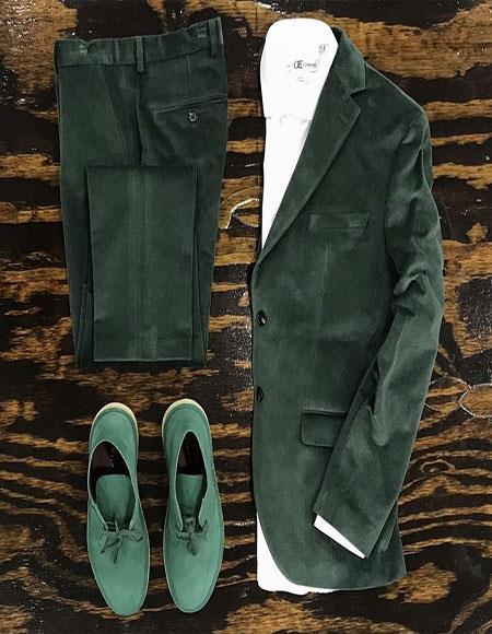 Velvet Suit / Tuxedo Jacket and No Pleated Pants + Green Perfect for Prom ~ Wedding ~ Homecomming