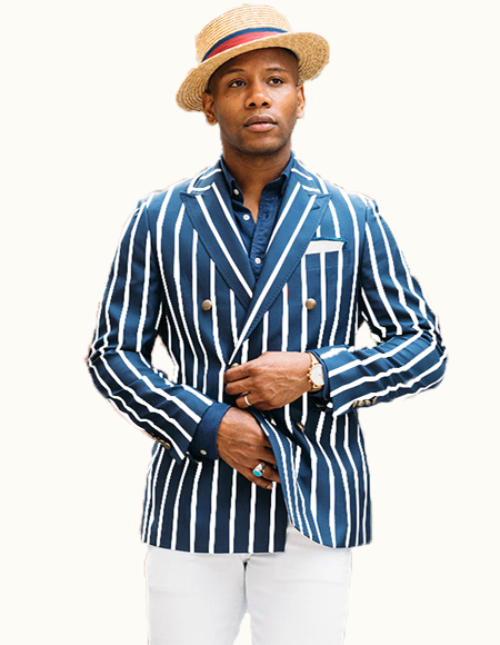 Double Breasted Blazer With Brass Buttons Royal Blue/White Pinstripe