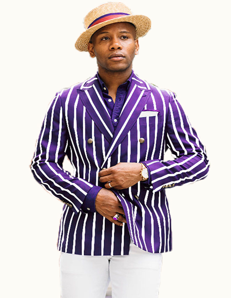 Double Breasted Blazer With Brass Buttons Purple/White Pinstripe - Pre order to ship 01/01/2021