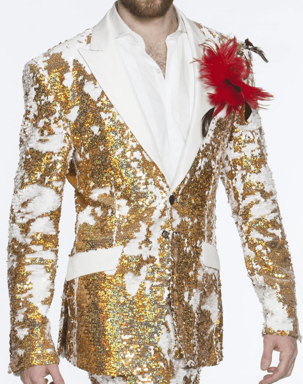 Limited Edition Pre order Feb/30/2020 Mens Sequin Suits Gold Perfect For Stage Tuxedos For Prom / Wedding