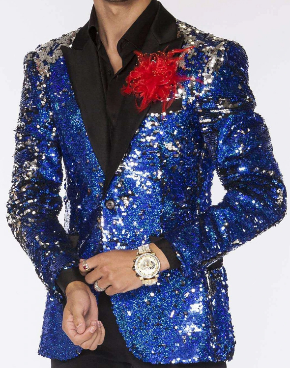 Limited Edition Pre order Feb/30/2020 Mens Sequin Suits Blue Perfect For Stage Tuxedos For Prom / Wedding