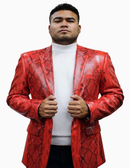 Ostrich Exotic Skin Red Notch Lapel Imported Blazer for Men