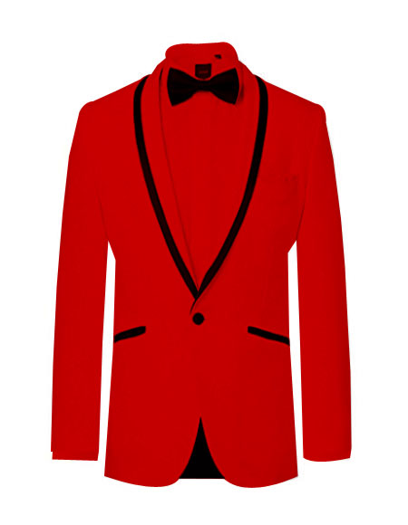 Prom ~ Wedding Tuxedo Dinner Jacket Red/Black Trim