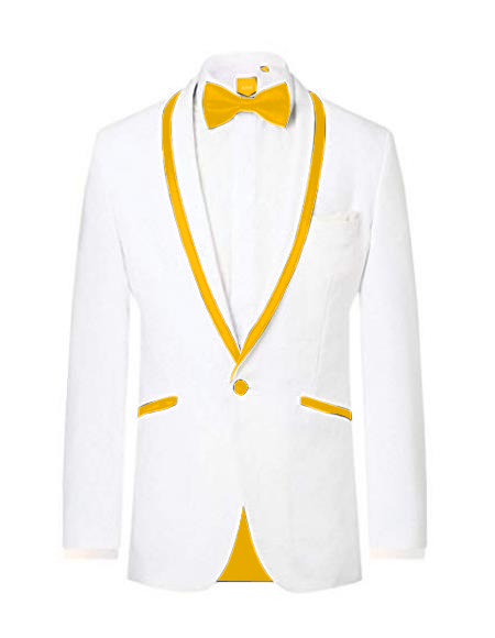 Prom ~ Wedding Tuxedo Dinner Jacket White/Gold Trim