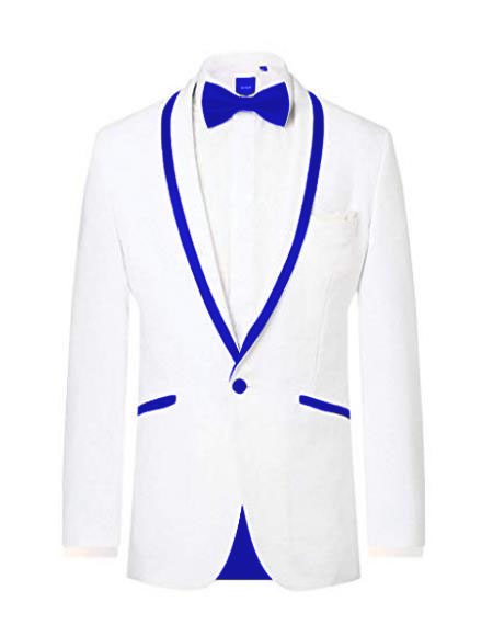 Prom ~ Wedding Tuxedo Dinner Jacket White/Navy Blue Trim