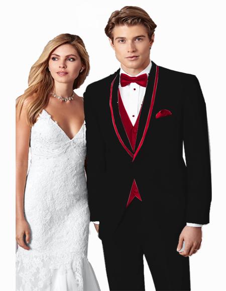 Black/Burgundy Trim One Button Single Breasted Prom ~ Wedding Tuxedo