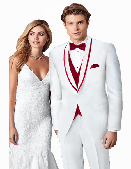 White/Burgundy Trim One Button Prom ~ Wedding Tuxedo Suits