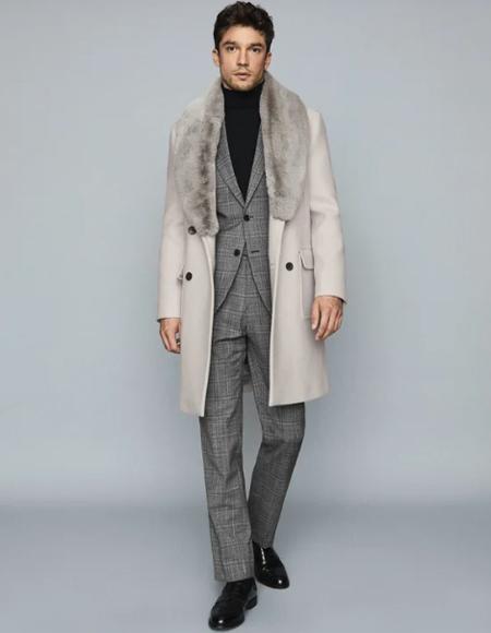 Fur Wool Blend Overcoat