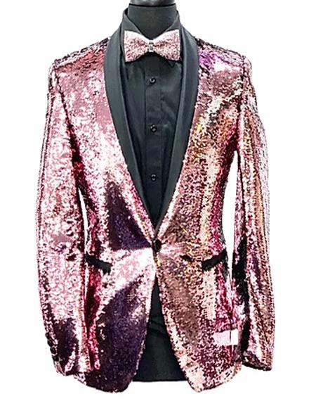 Mens Pink One Button Slim Fit Paisley Fashion Fancy Floral Blazer