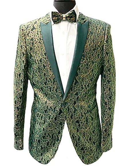 Mens Green Slim Fit Peak Lapel Sport coat