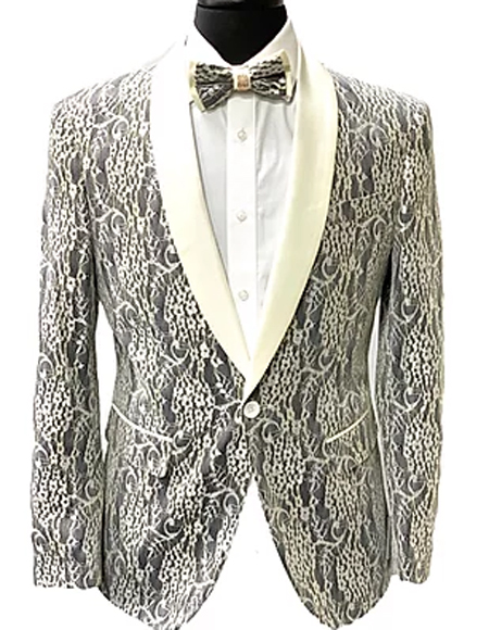 Grey Paisley Fashion Two Flap Front Pockets Tuxedo