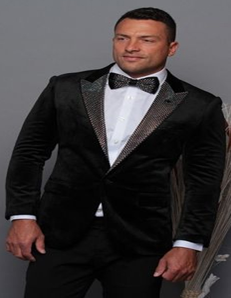 Black and Silver Lapel Velvet Mens blazer Perfect For Prom & Wedding With Matching Bowtie Tuxedo Jacket Perfect For Prom Clothe - Prom Outfits For Guys