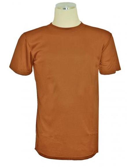 Brown Short Sleeve Mock