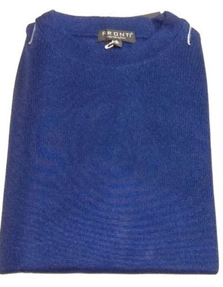 Royal Blue Pronti Shiny Long Sleeve Mock Neck Shirt for Men