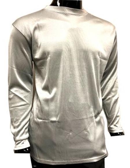 Mens Silver Pronti Shiny Long Sleeve Mock Neck Shirt