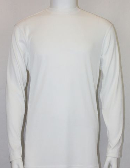 White Pronti Shiny Long Sleeve Mock Neck Shirt for Men