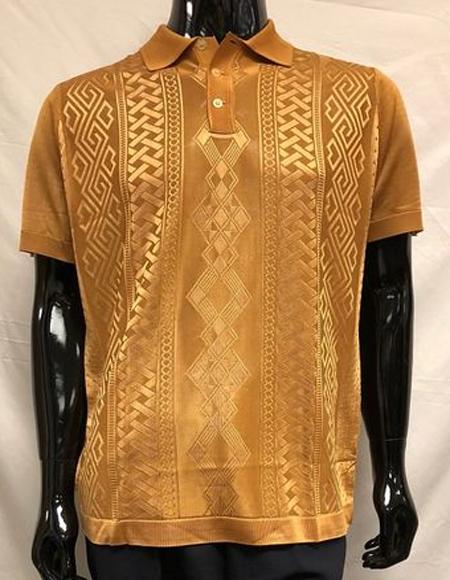 Shiny Knit Bronze Polo Shirts for Men
