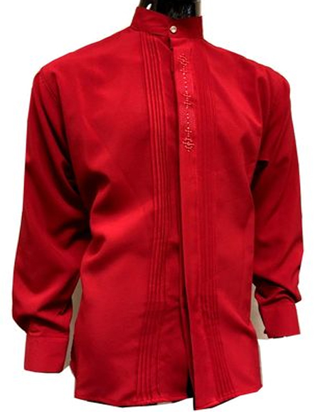 Mens Red Banded Mandarin Collar Shirt