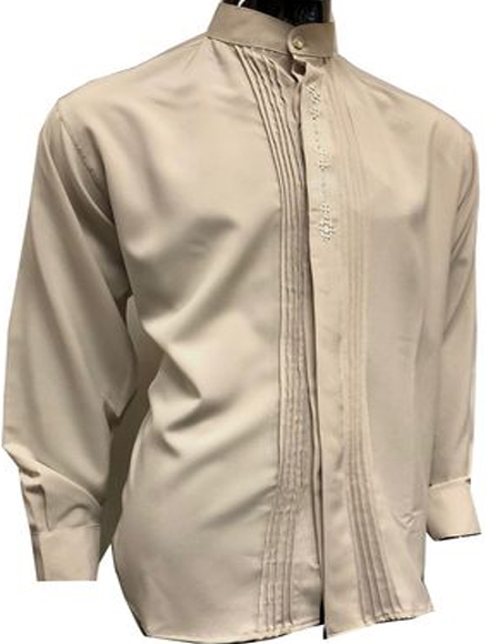 Tan Fancy Button Banded Collar Shirts for Men
