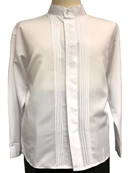 White Banded Collar Shirts for Men