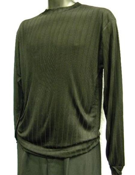 Mens Black Rayon/Poly Mock Neck Shirt