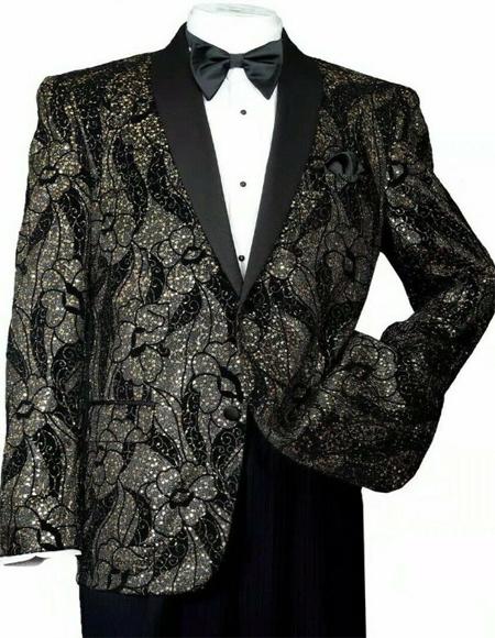 Mens Black/Gold Shiny Sequins Slim Blazer Paisley Tuxedo