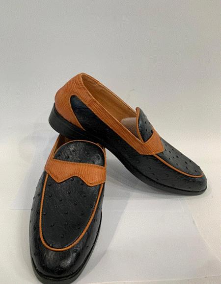 Black/Cognac Two Toned Dress Shoes for Men
