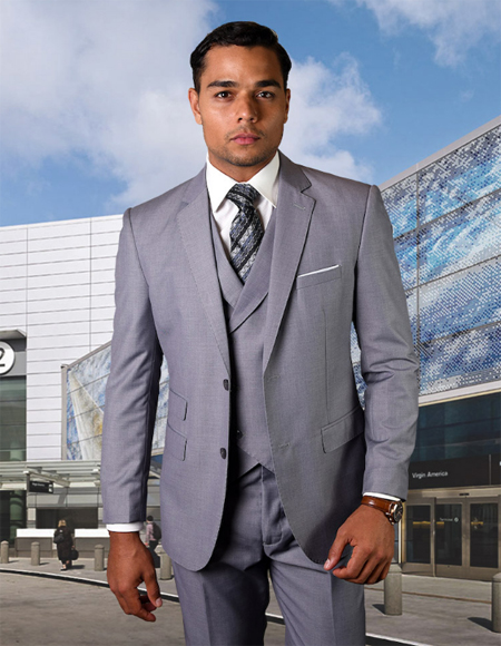 Grey Notch Lapel One Chest Pocket Wool Fabric 2 Button Vested Suit