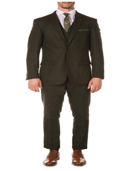 Hunter Green Super Slim Fit Notch Lapel 2 Button Peak Blinder Vested Suit