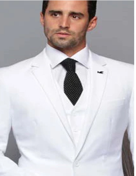Extra Slim Fit Suit Ultra Extra Slim Fit ~ Tapered Fitted European Cut Suit White