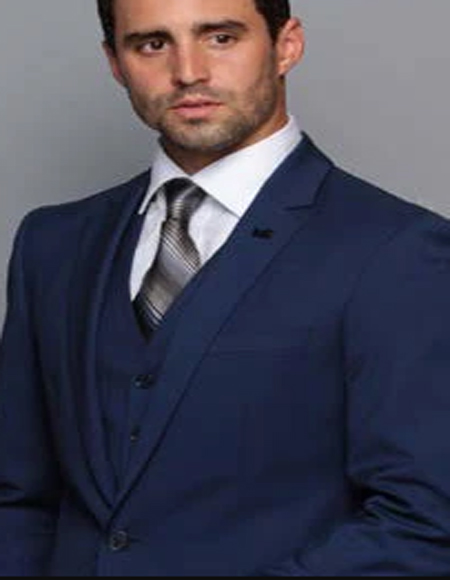 Extra Slim Fit Suit Ultra Extra Slim Fit ~ Tapered Fitted European Cut Suit Sapphire