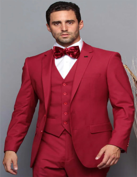 Extra Slim Fit Suit Ultra Extra Slim Fit ~ Tapered Fitted European Cut Suit Ruby Red