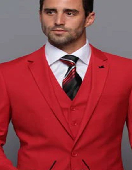 Extra Slim Fit Suit Ultra ~ Tapered Fitted European Cut Suit Red