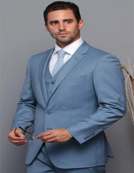 Extra Slim Fit Suit Ultra Extra Slim Fit ~ Tapered Fitted European Cut Suit Ocean Blue