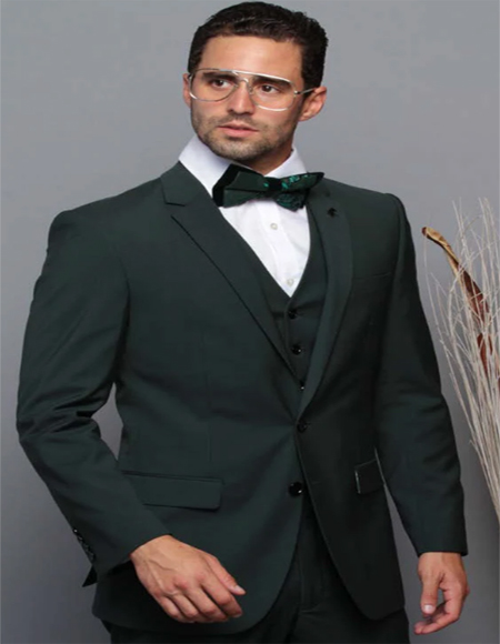 Extra Slim Fit Suit Ultra Extra Slim Fit ~ Tapered Fitted European Cut Suit Hunter