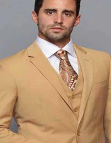 Extra Slim Fit Suit Ultra Extra Slim Fit ~ Tapered Fitted European Cut Suit Camel