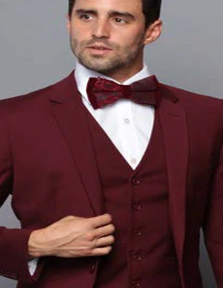 Extra Slim Fit Suit Ultra Extra Slim Fit ~ Tapered Fitted European Cut Suit Burgundy