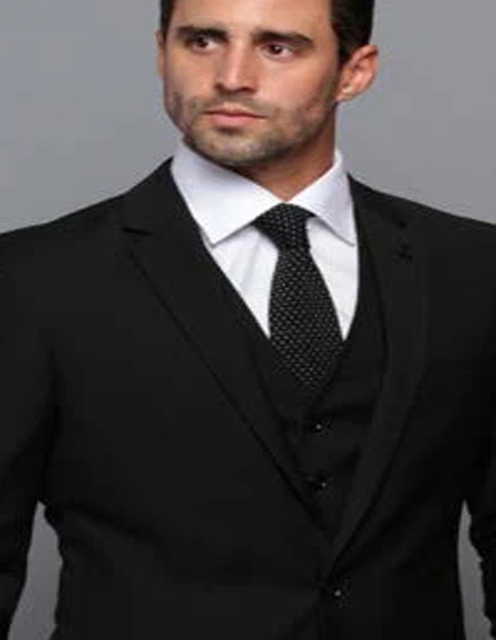Extra Slim Fit Suit Ultra Extra Slim Fit ~ Tapered Fitted European Cut Suit Black