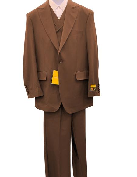 Mens Brown One Button 100% Wool Fashion Urban Suit