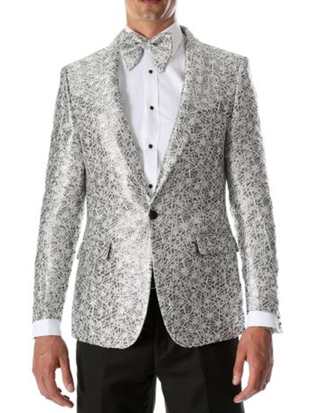 Mens Silver & Black Slim Modern Fit Blazer Perfect Prom Wear  Perfect For Prom Clothe - Prom Outfits For Guys