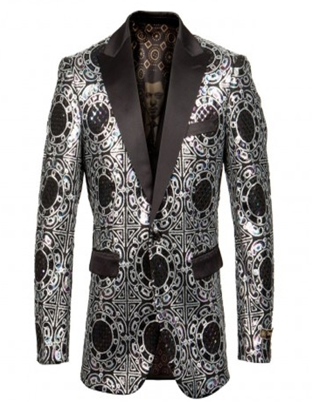 Silver & Black Fancy Pattern Pindot Lapel Blazer