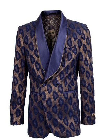 Double Breasted Tuxedo Mens Navy/Gold Floral ~ Velvet Double Breasted Blazer